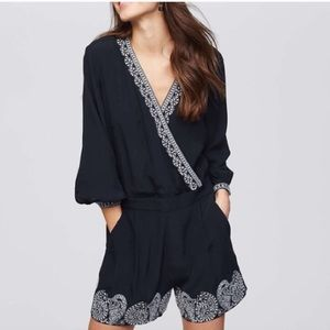 LOFT Black Long Sleeve Embroidered Wrap Romper